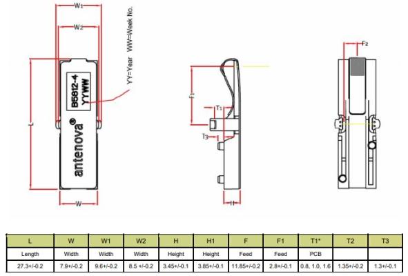 Antena GSM/UMTS 1020B5812-04 27.3x9.6x4.85mm
