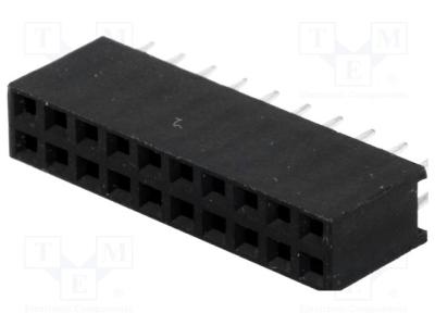 Gniazdo kołkowe żeńske 20pin 2.54mm proste 2x10 TH