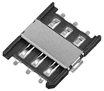 Złącze nano SIM 6-pin SMD wsuwane z pinami lok.