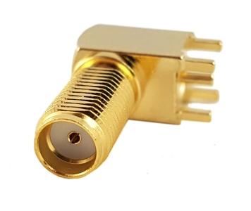 Złącze SMA (f) kątowe do druku długi gwint 11.4mm