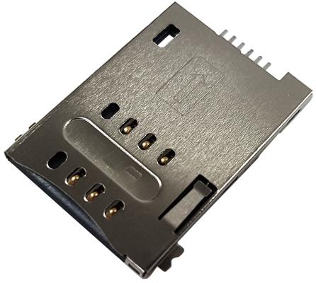 Złącze czytnik SIM 6-pin SMD wsuwane
