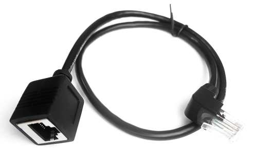 Przewód RJ45 (m) kątowy - RJ45 (f) cat 5e UTP 0.5m